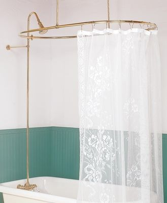 The Renovator S Supply Inc Shower Surrounds Bright Chrome Oval Surround Braces Only 32 Cool Shower Curtains Clawfoot Tub Shower Curtain Shower Curtain Rods