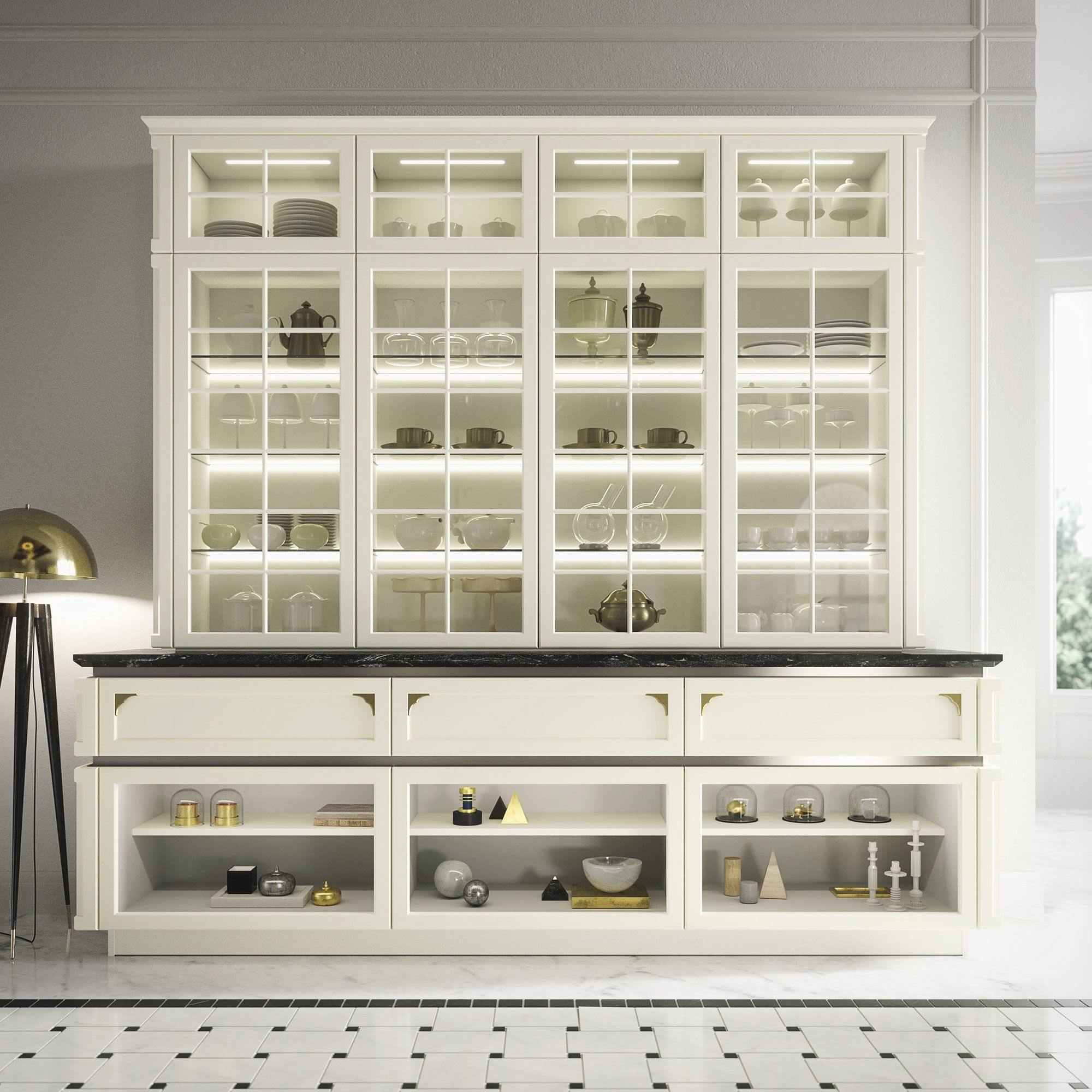 Snaidero KELLY Glass Wall Sideboard Units Are Both Elegant