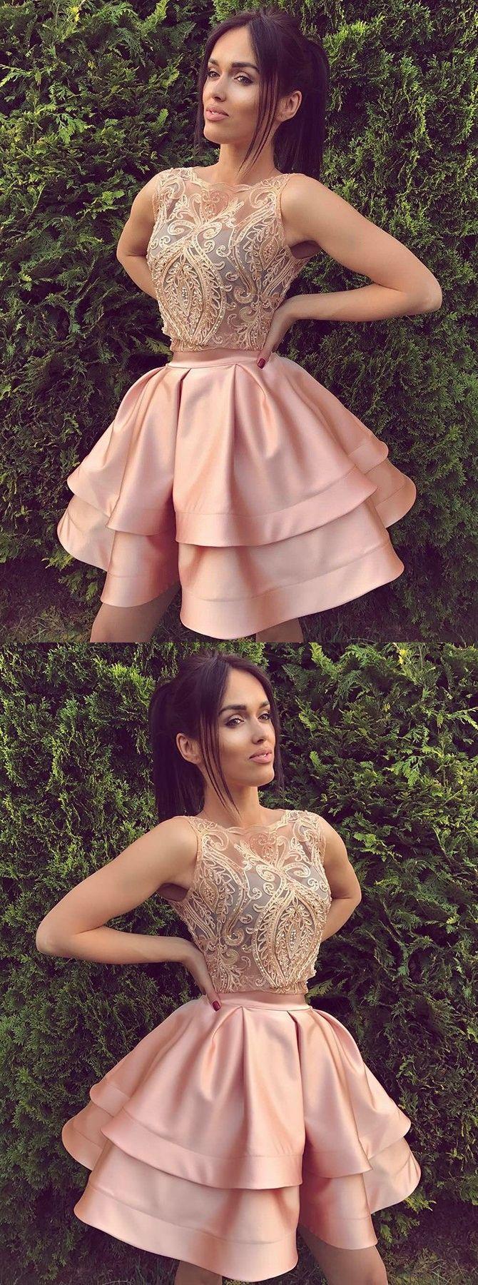 Aline crew aboveknee sleeveless pink satin homecoming dress with