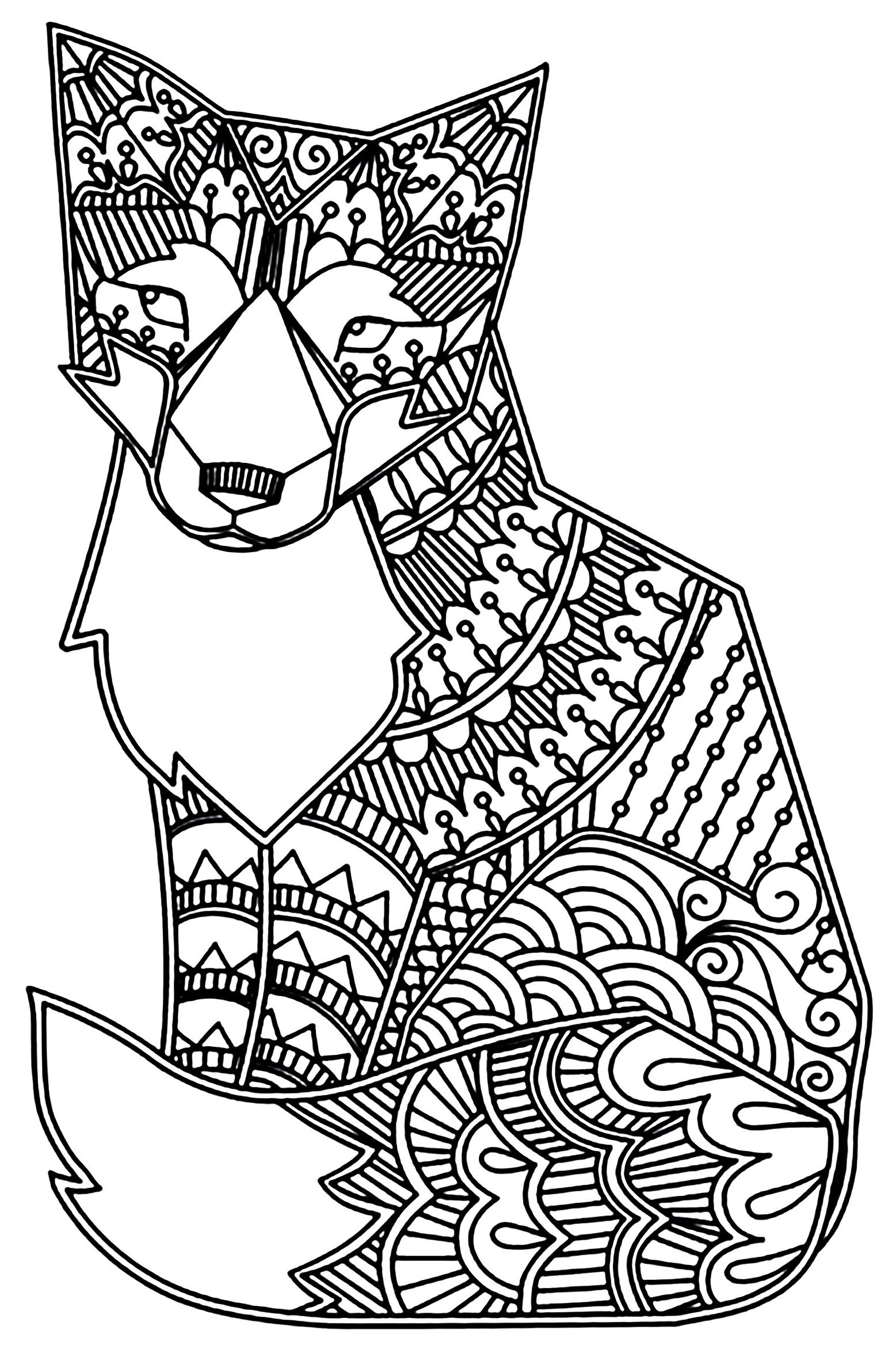 Fox Mandala Coloring Pages Mandalarenard0d Adult Coloring Page