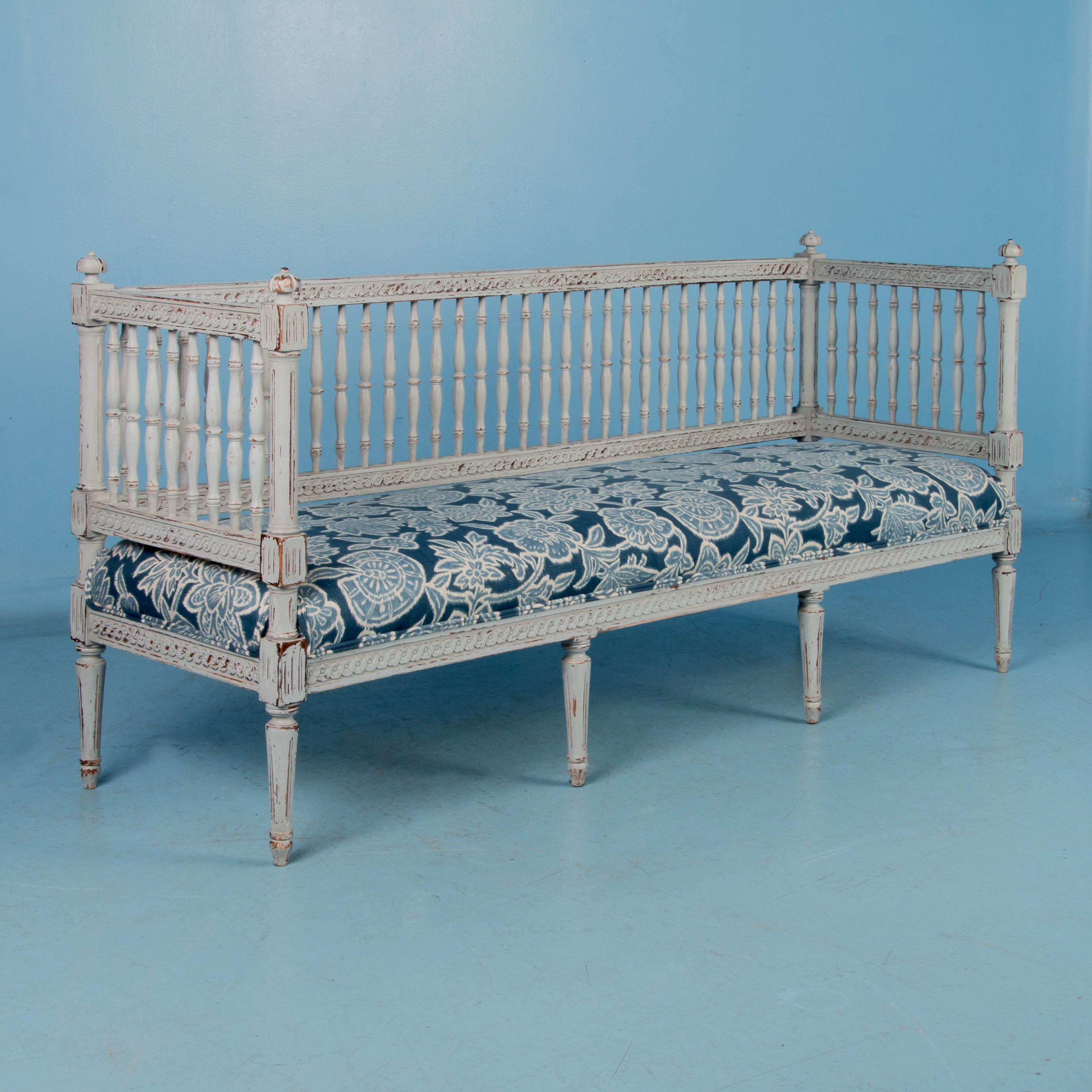 Swedish Gustavian Bench Painted Gray Antique 19th Century Sillas Sillones Banquetas