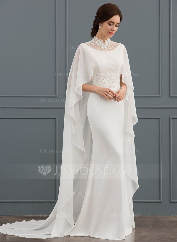 JJsHouse Trumpet/Mermaid High Neck Court Train Stretch Crepe Wedding Dress With Beading Sequins