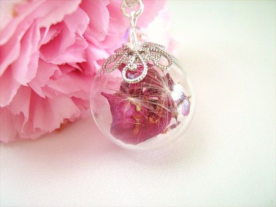 Dandelion Necklace Dandelion Seeds Real Pink by SeaMeadowDesigns