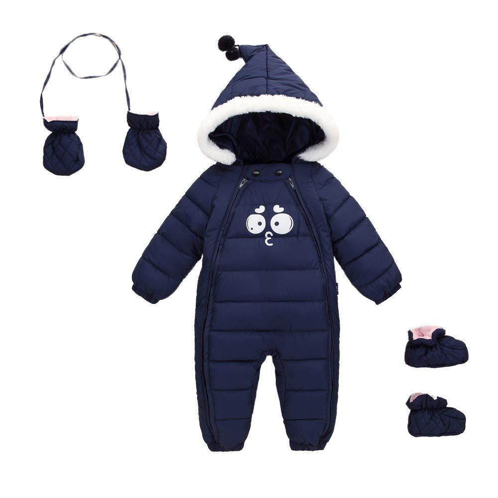 Baby Snowsuit Winter Down Romper Boys Girls Hooded Jumpsuit Warm Outfits Foot+Gloves Dinosaur Pattern Outerwear Infant 0-3 Years