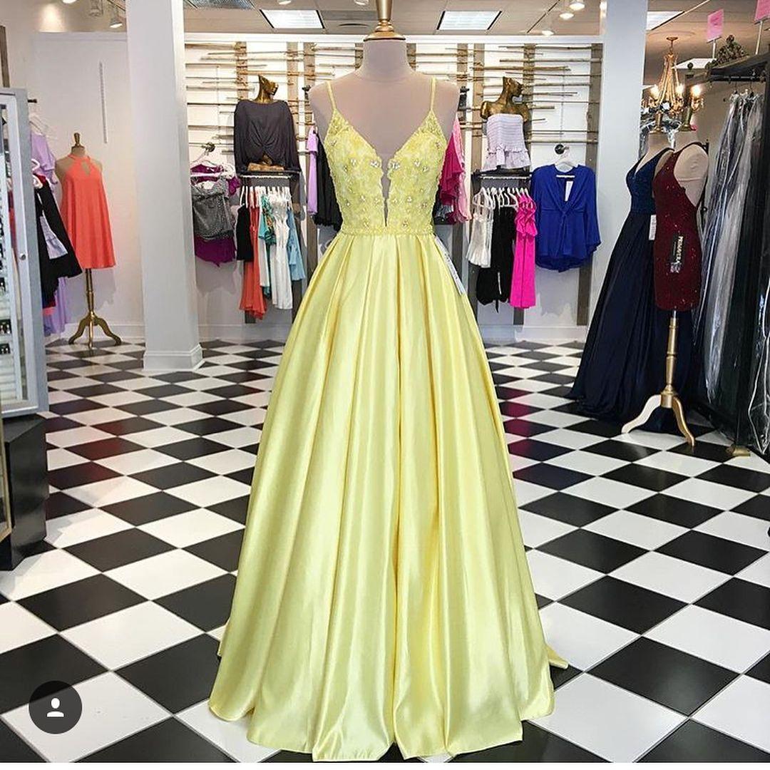WishYourDress  Gelbe ballkleider, Langes abendkleid, Party kleider