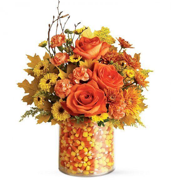 Arreglo Floral Naranjo   flores   Pinterest   Fall candy, Candy corn ...