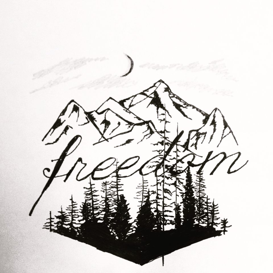 Mountain Forest Sketch Pencil Freedom Freedom Tattoos Inner Elbow Tattoos Ink Tattoo