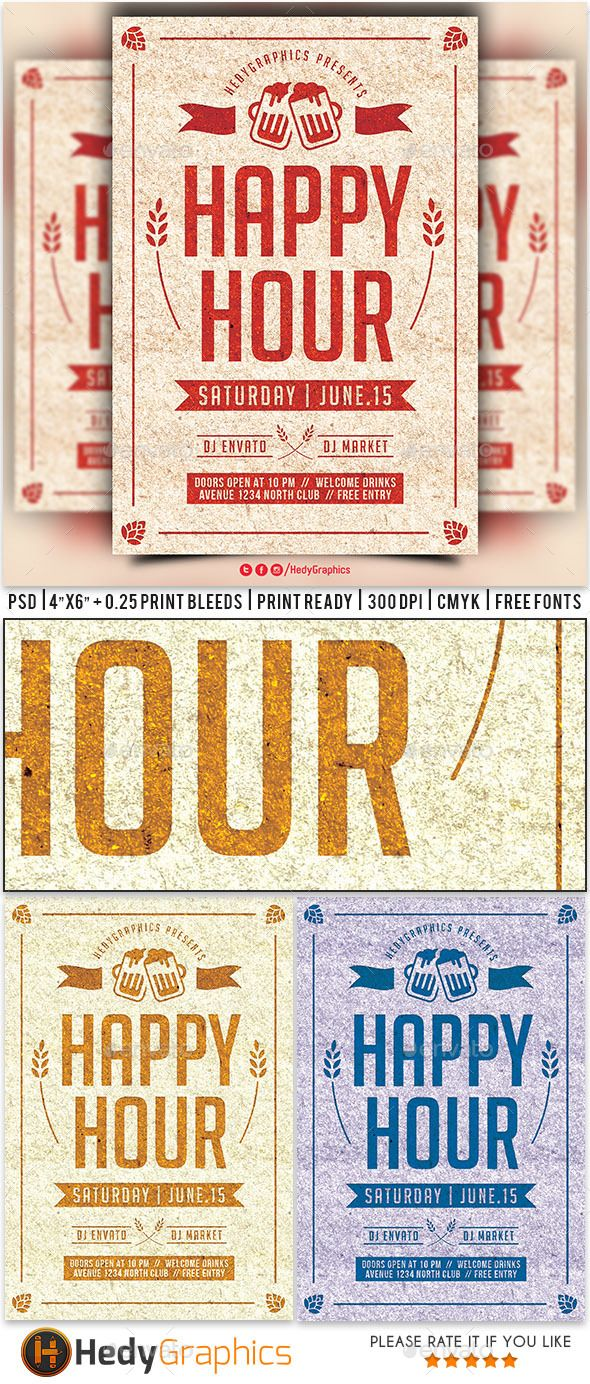 Happy Hour Flyer Template Psd Download Here Httpgraphicriver