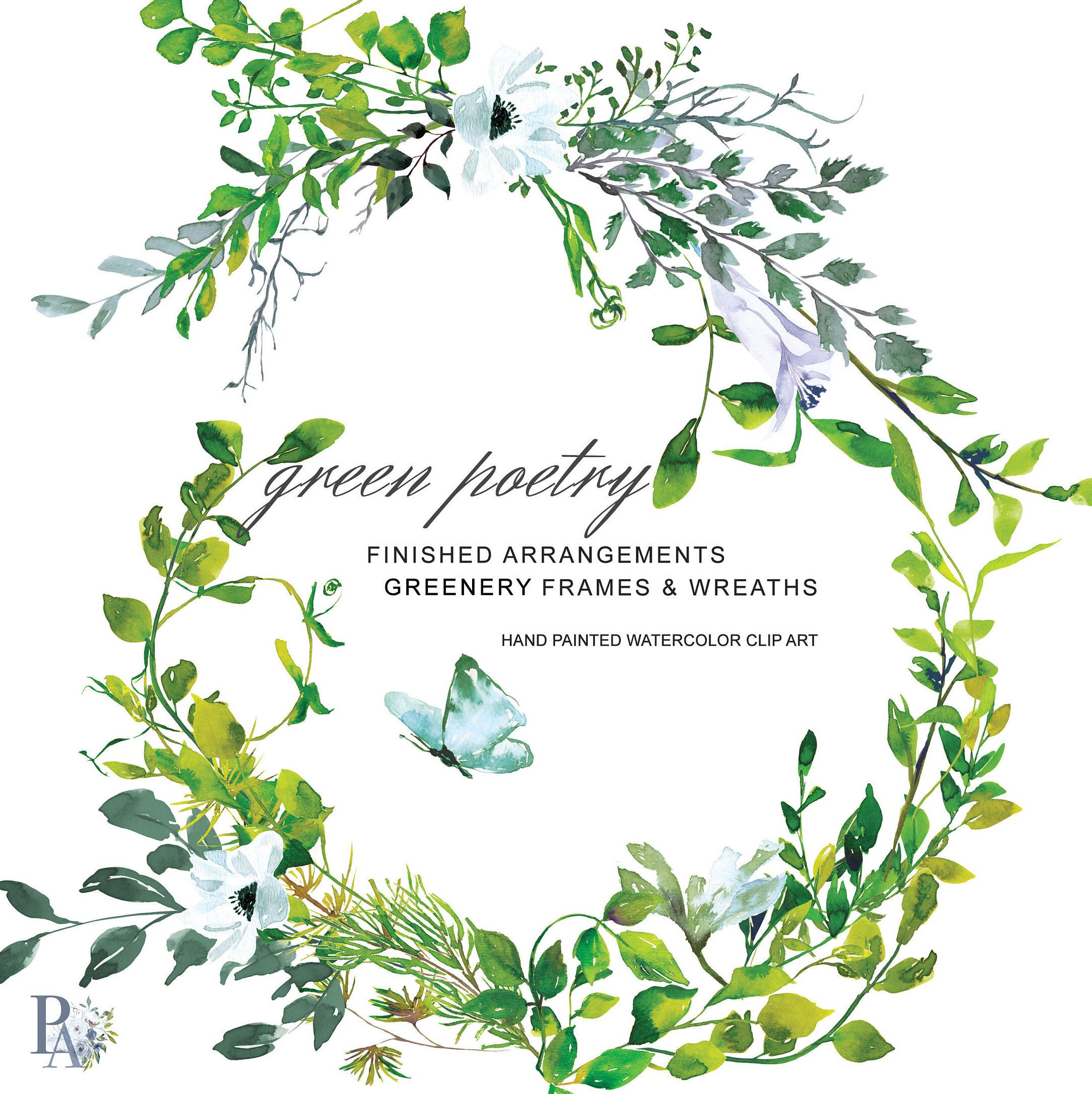 5fe45ed1e81b Hand Painted Watercolor Greenery Clipart Greenery Wreath Watercolor  Greenery Frame Greenery Arrangements Commercial Use