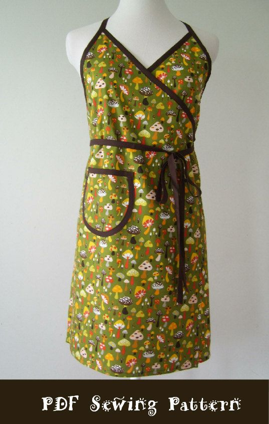 Easy Sewing Pattern PDF Women\'s Apron Full and Half - The URBAN WRAP ...
