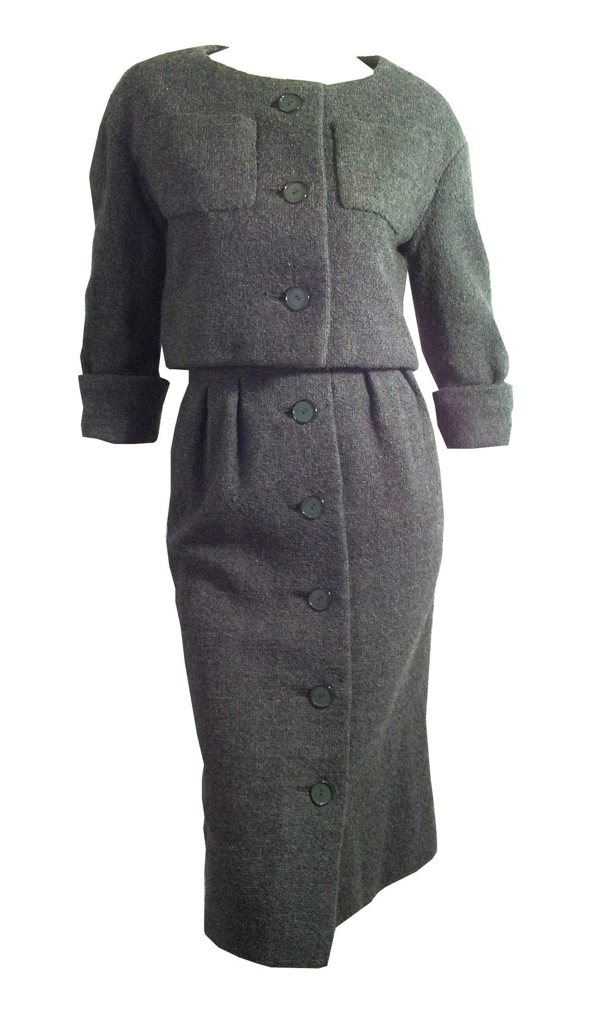 x ARCHIVED Couture Custom Charcoal Grey Wool Suit circa 1950s Christian Dior