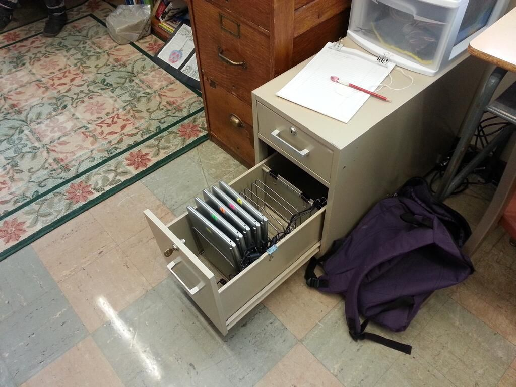 Use An Old Filing Cabinet For Chromebook Storage