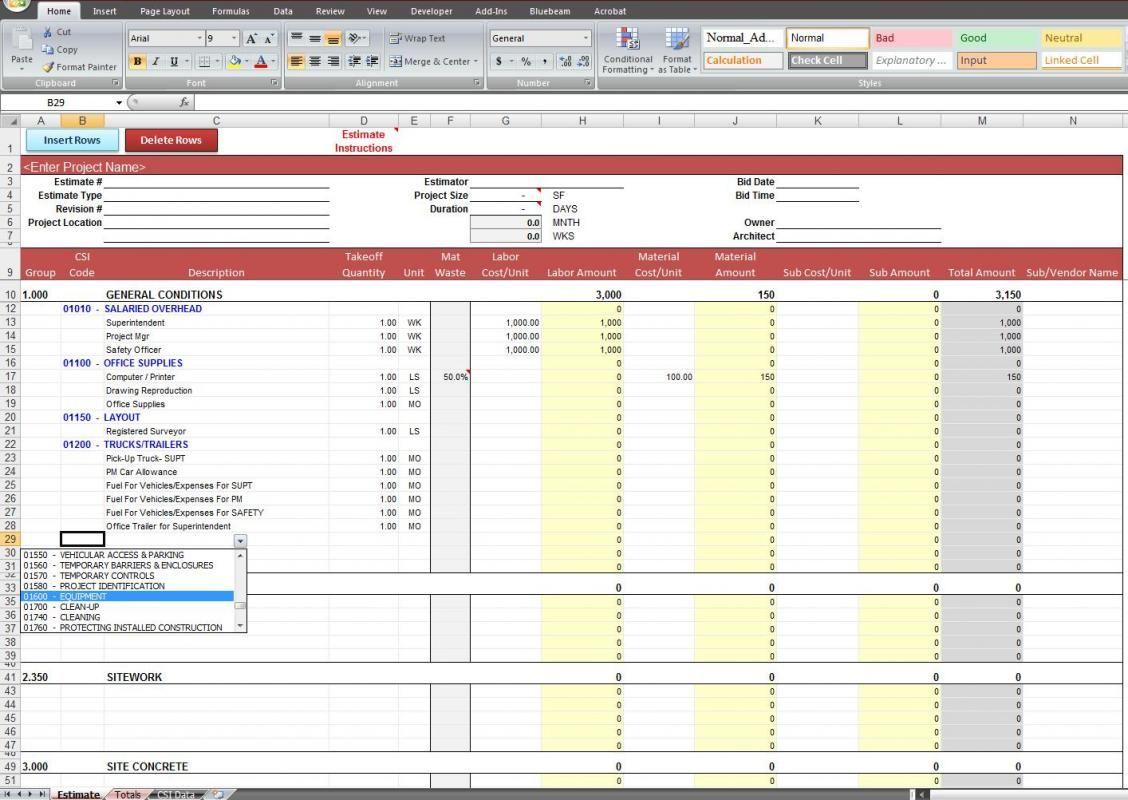 Excel Estimating Spreadsheet