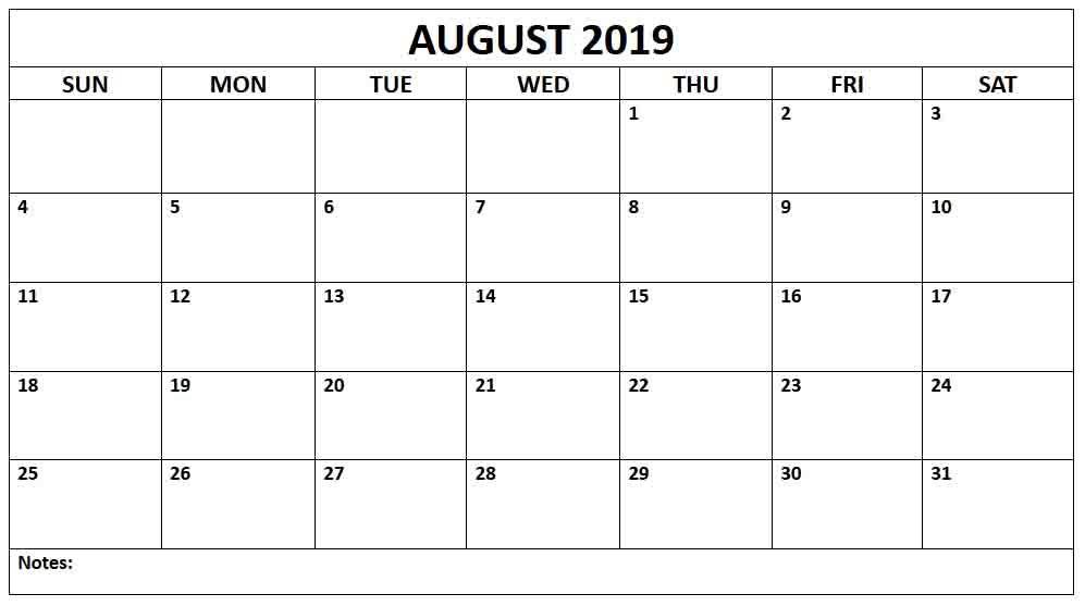 Blank Month Calendar 2019 August 2019 Printable Calendar | Calendar 2019 | Blank calendar