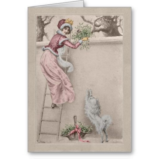 A vintage drawing by R R von Wichera of a girl on a ladder collecting mistletoe with a white dog waiting below, on a Christmas card with a beige vintage style border.