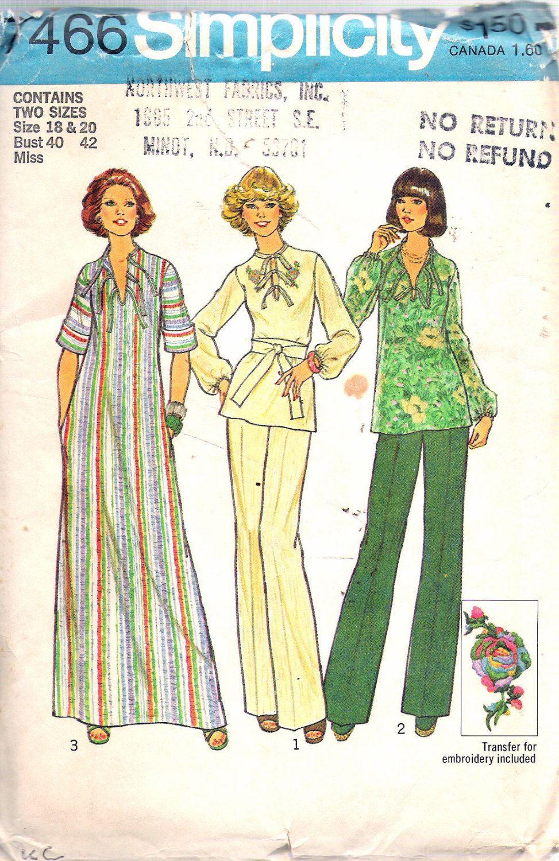 Vintage simplicity caftan or top u pants sewing pattern
