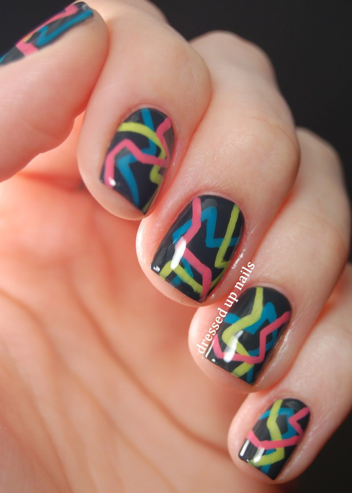 Dressed Up Nails Geometric Challenge Day 6 80s Party Nails Simple Nails Party Nails Cool Nail Art