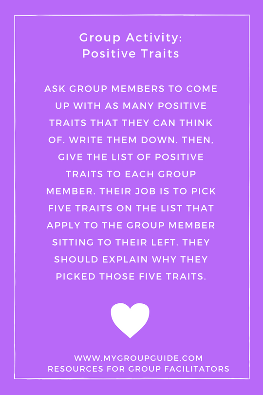 Group Activity Positive Traits Self Esteem Therapy Activities