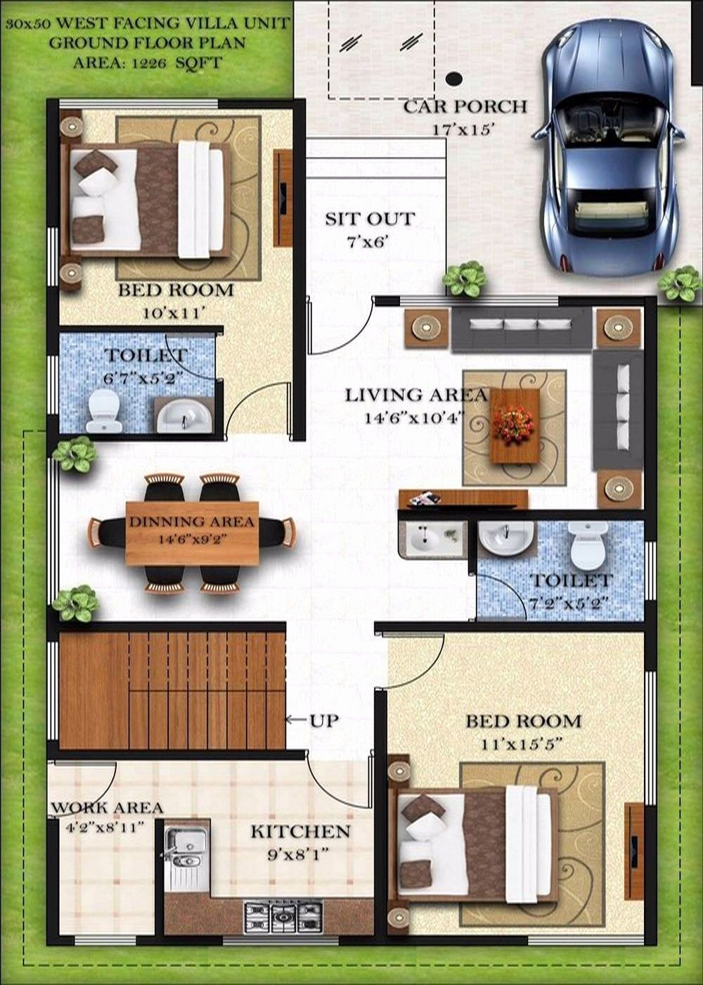 30 By 50 House Plan Lovely Duplex Plans South Facing In 2019