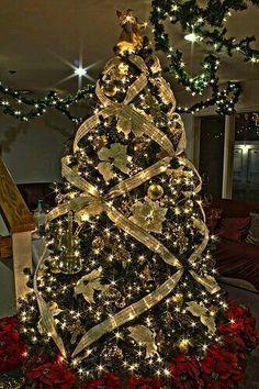 árbol De Navidad Dorado Decoracion Arboles Navideños