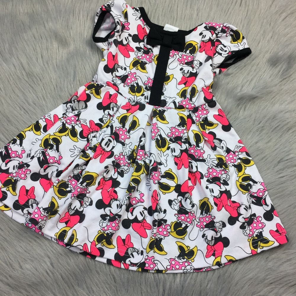 new pink and white Disney Minnie Mouse dress baby toddler
