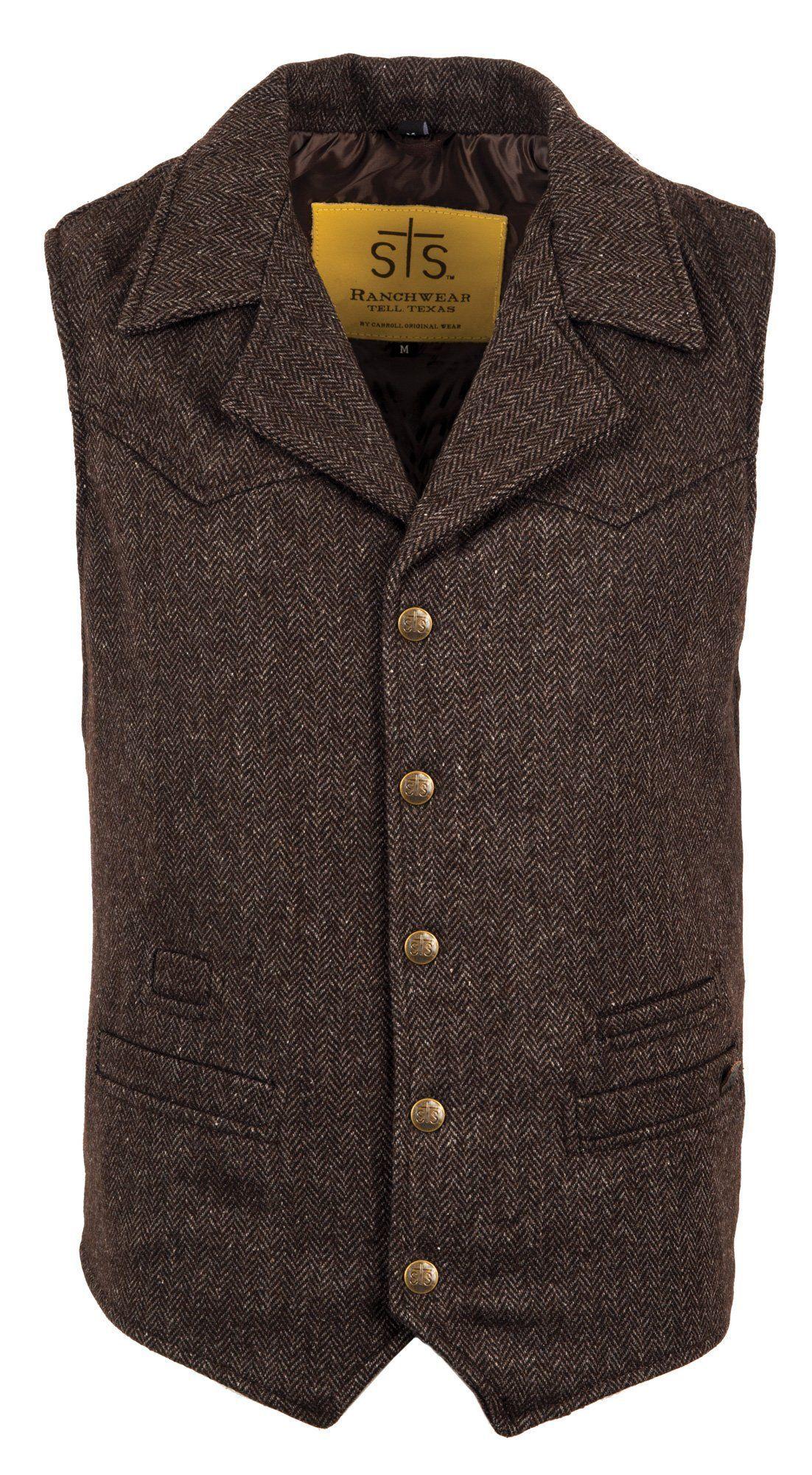 Sts Ranchwear Mens Gambler Wool Vest Chocolate Western The Western Company Mens Vest Fashion Vest Outfits Men Mens Wool Vest [ 2000 x 1102 Pixel ]