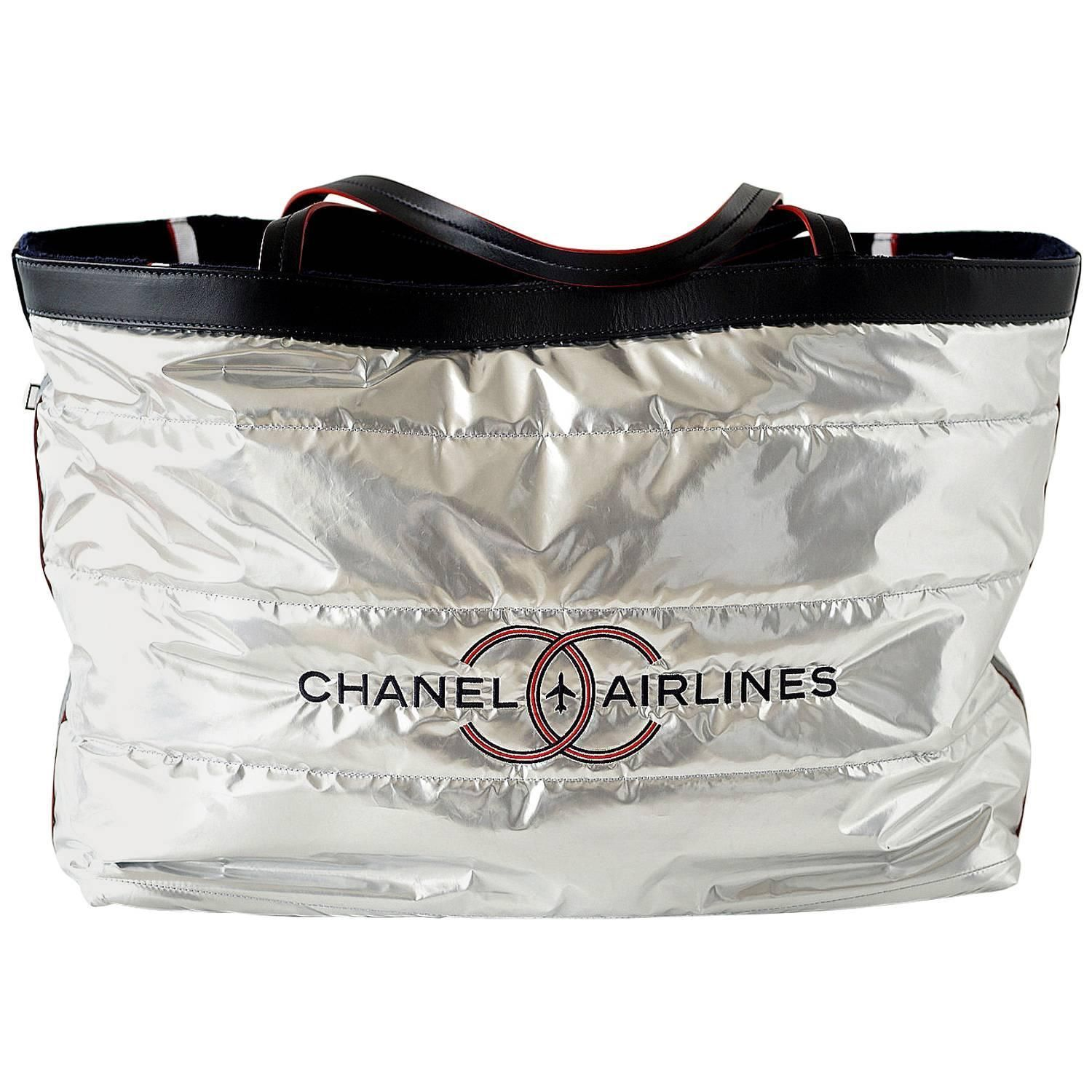 48300f9d5054 Chanel Airlines Limited Edition Reversible Tote Bag with Beach Towel ...