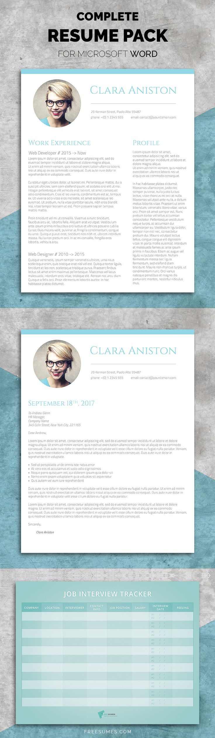 Resume Template Set  The Simple Snapshot A Professionally