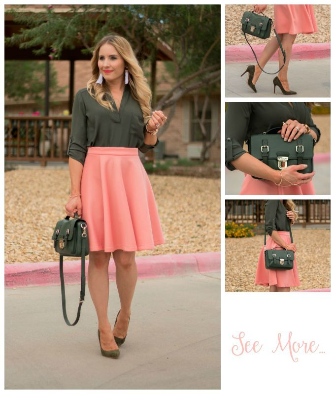 Transitioning Into Fall Olive Green Salmon Pink Outfit Pairing Glamour Zine Olive Green Outfit Dark Green Skirt Pink Skirt Outfits