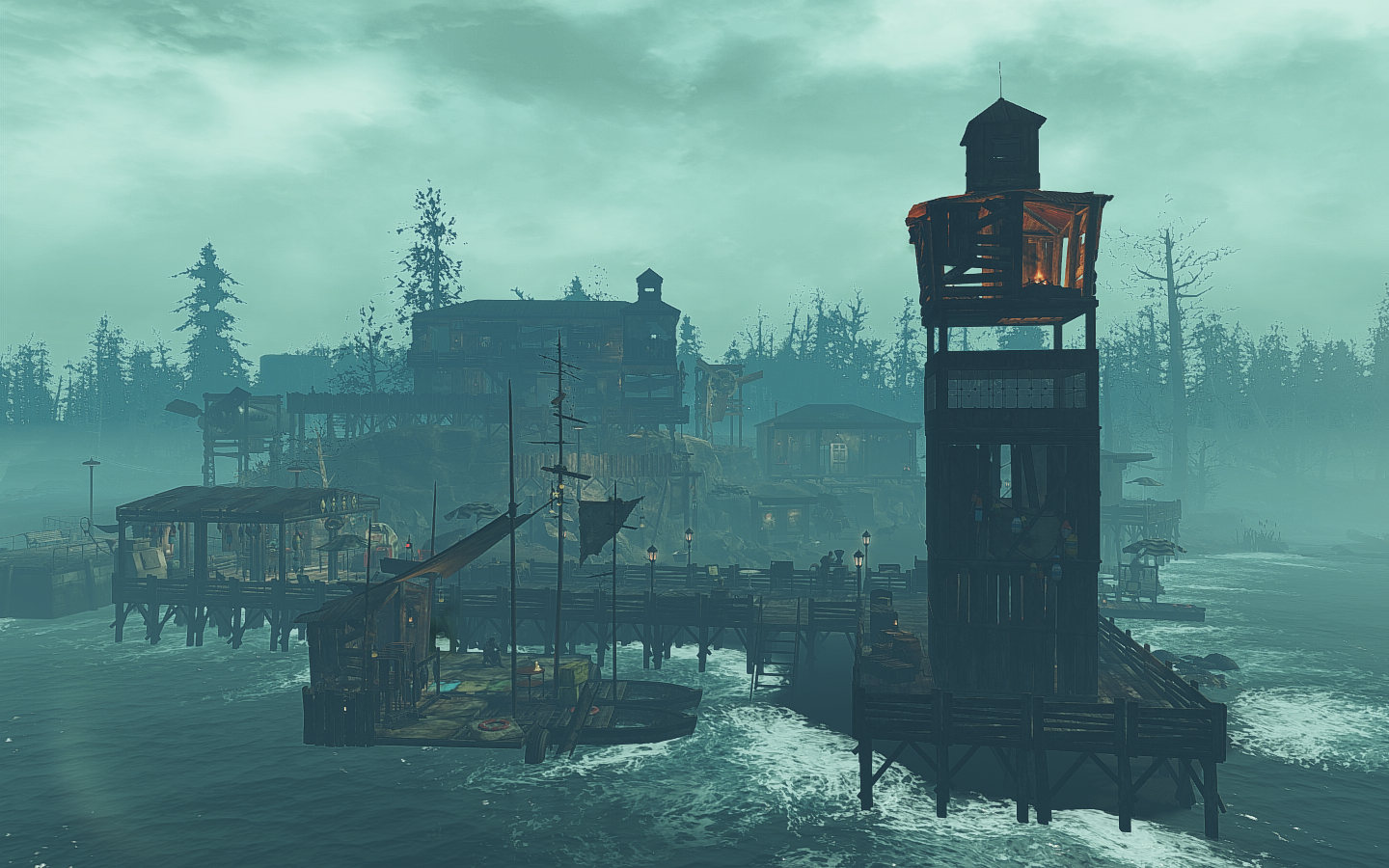 Far Harbor] I decided to build fishing raft and lighthouse in the