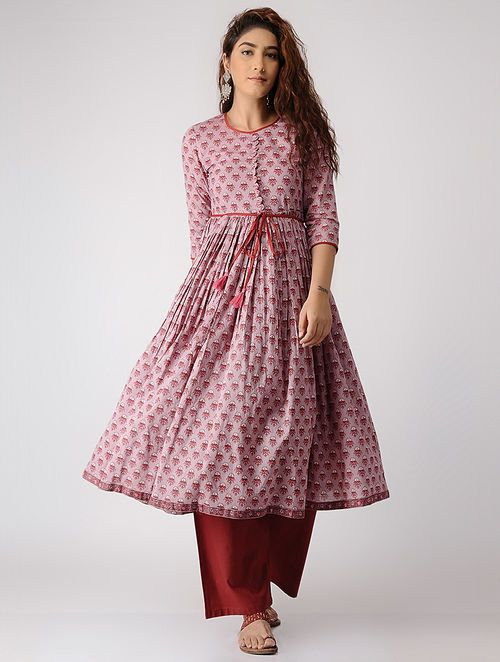 d8e914ccbea Buy Grey-Pink Block-printed Pleated Cotton Kurta Online