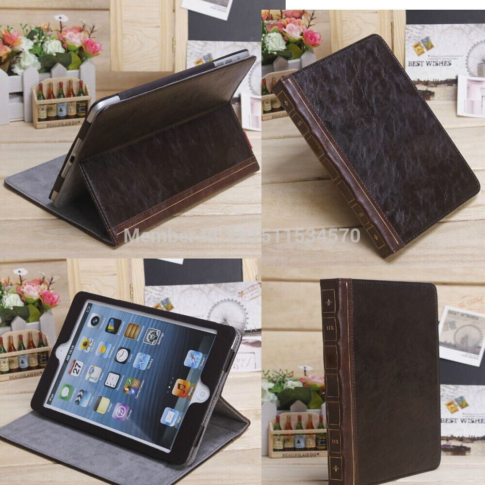 Find More Covers & Cases Information about Luxury Retro Ancient Vintage Old Flip Book Style PU Leather Case Cover Stand For ipad air 5 5th ipad 2 3 4 ipad mini 1 2,High Quality leather wedding dvd case,China leather radio case Suppliers, Cheap case specification from Sunflower forever on Aliexpress.com