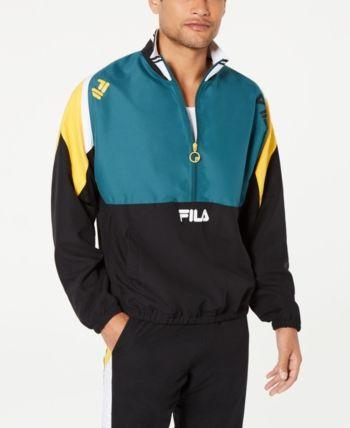 dad6ba679 Fila Men's Marty Half-Zip Colorblocked Wind Jacket - Black L ...