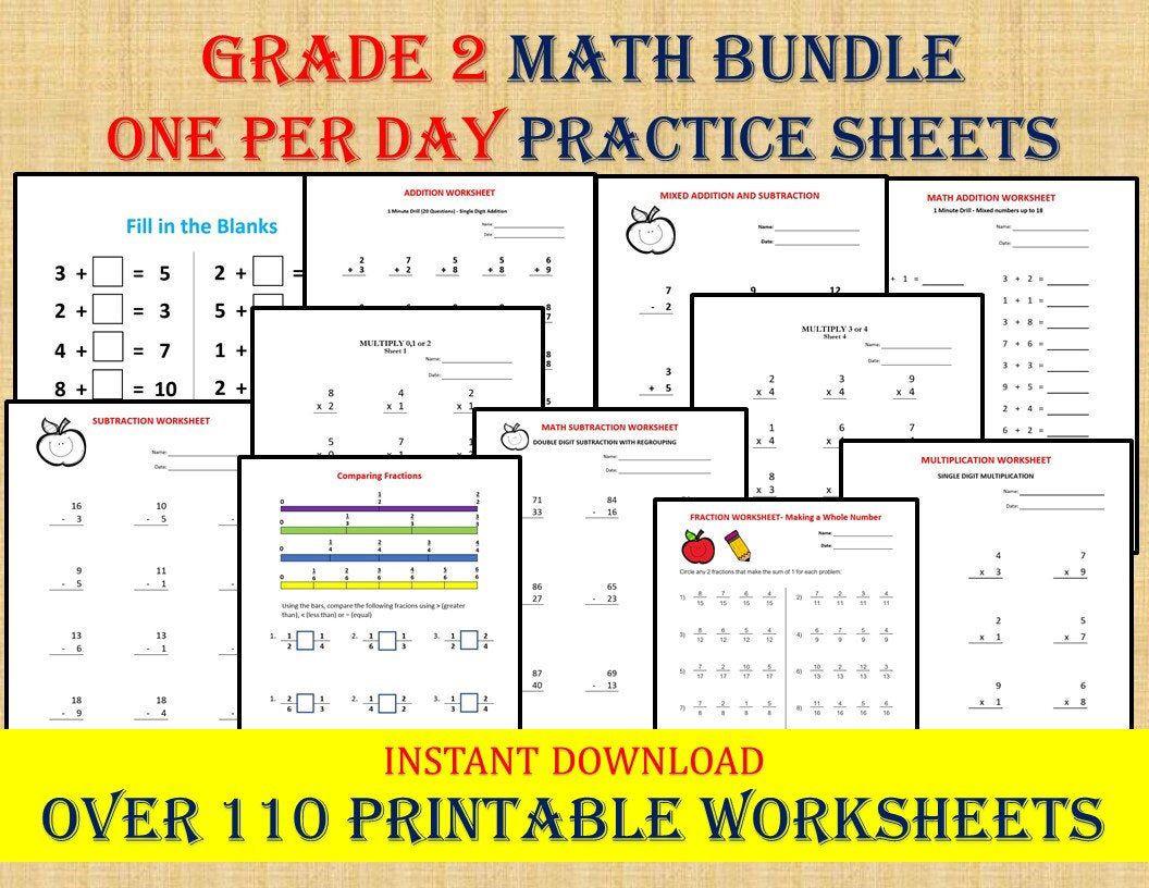 Grade 2 Math Workbook One Per Day 110 Math Worksheets