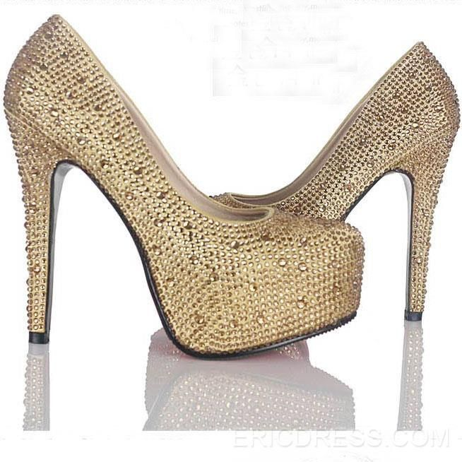 Amazing Sparkle Pearls Platform Stiletto Heels Prom Shoes 8