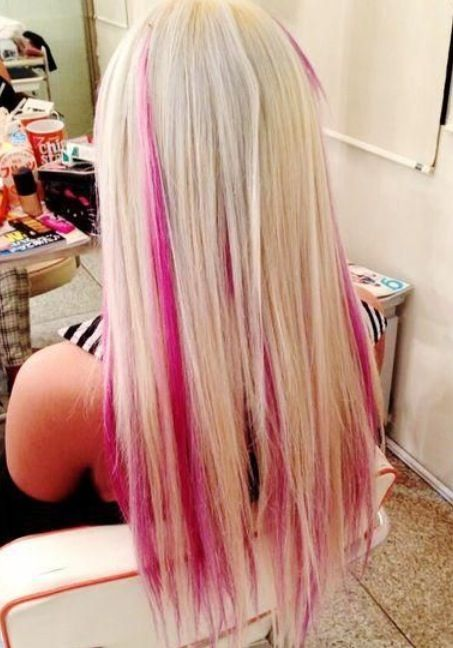 Hot pink streaks in long blonde hair 3 hair colors 3 hot pink streaks in long blonde hair 3 hair colors 3 pinterest pmusecretfo Choice Image