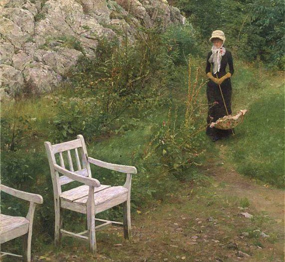 In Familiar Surroundings, Erik Werenskiold. Norwegian Realist Painter (1855 - 1936)