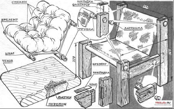 Мягкое кресло своими руками фото чертежи и ход работы