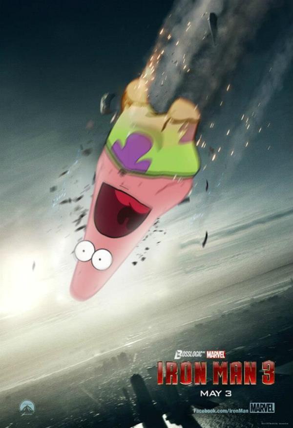 Surprised Patrick X Iron Man 3 Poster Spongebob Squarepants