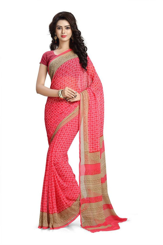 b4579241582ffc Vaamsi Chiffon Saree (Rc3201 Pink)  Amazon.in  Clothing   Accessories