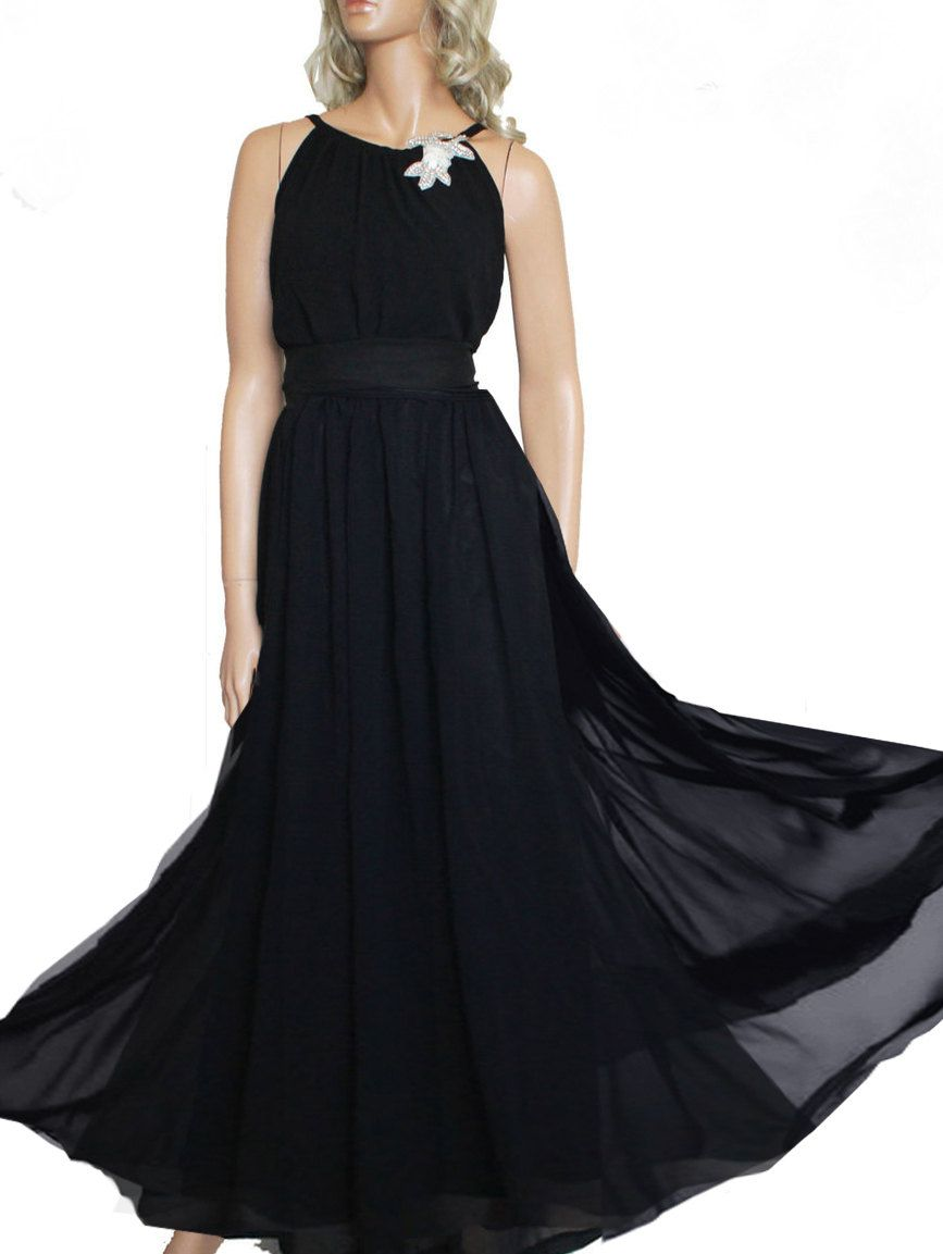 Maxi black chiffon bridesmaid evening prom party apparel