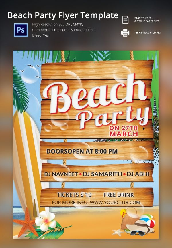 Freebie Of The Day  Beach Party Flyer Template  Freebies