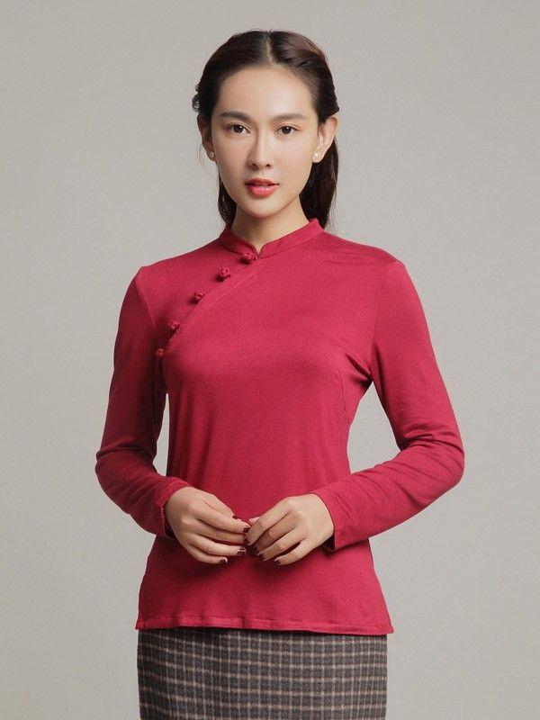 bf568ebe73 Cotton Qipao Top   Tang Mandarin Collar Shirt with Long Sleeves ...