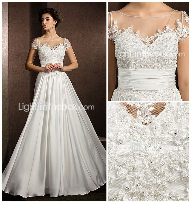 171b24c98a0 A-Line Scoop Neck Floor Length Satin Chiffon Made-To-Measure Wedding Dresses  with Beading   Appliques by LAN TING BRIDE®   See-Through 1483959 2018 –   89.99