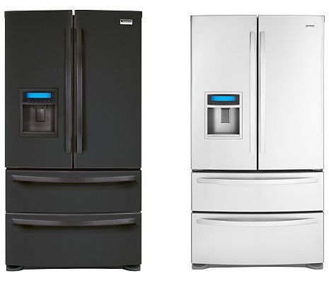 Black Stainless Steel Refrigerator With Ice Dispenser