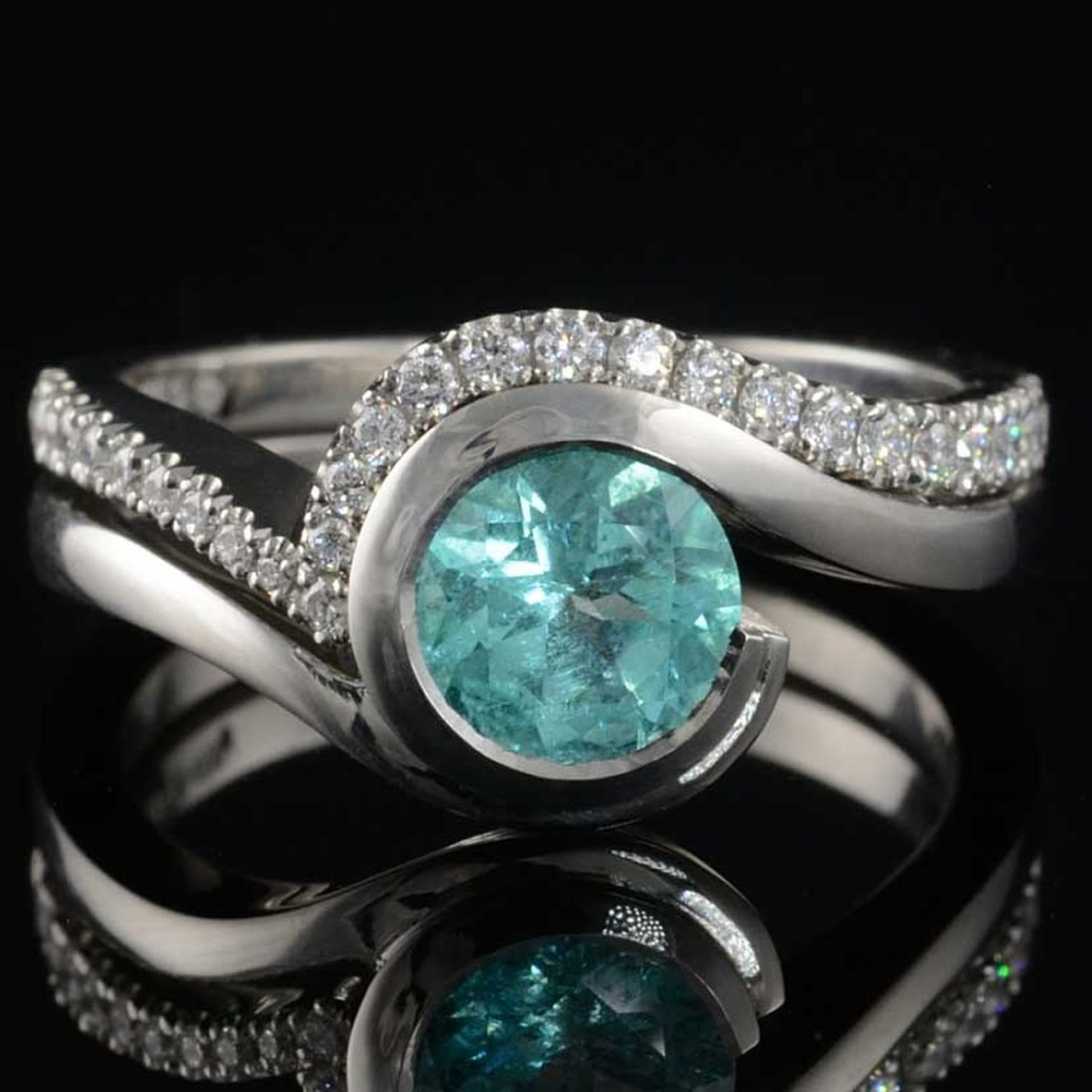 Diamond engagement rings goldsmiths - Mccaul Goldsmiths Bespoke Wave  Paraiba Tourmaline And Diamond Engagement Ring