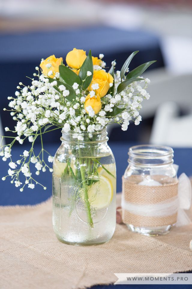 Mason Jar Centerpieces, Burlap Table Runner, Lemons, Yellow & Navy ...