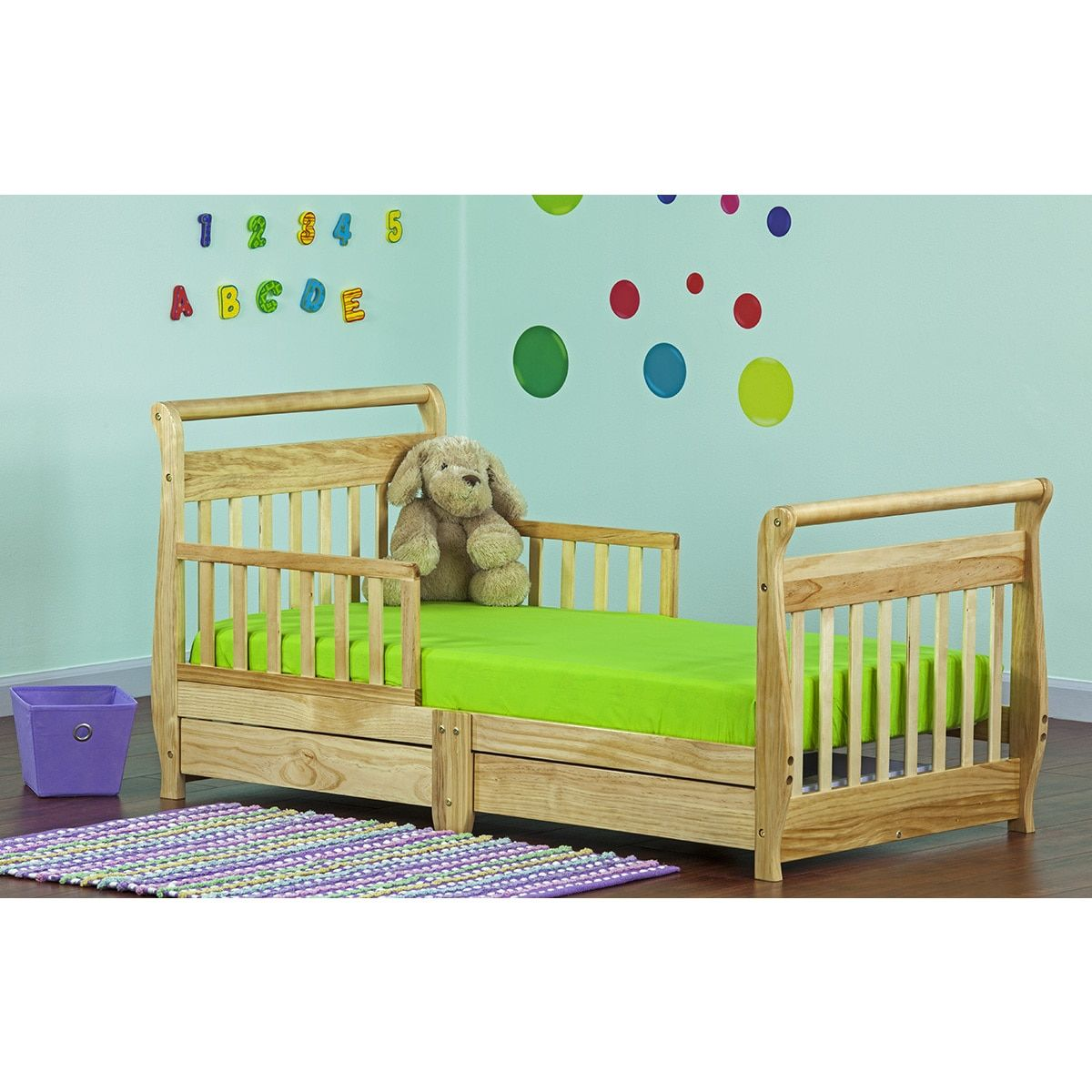 Best Dream On Me Sleigh Toddler Bed W Storage Drawer Natural 400 x 300