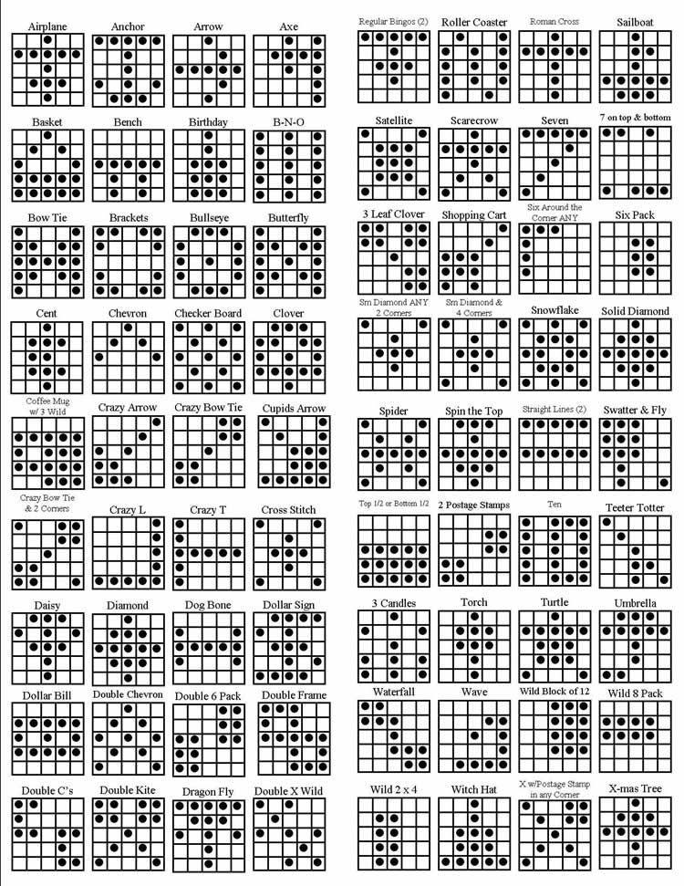 fund raising food Bingo patterns, Bingo games, Bingo