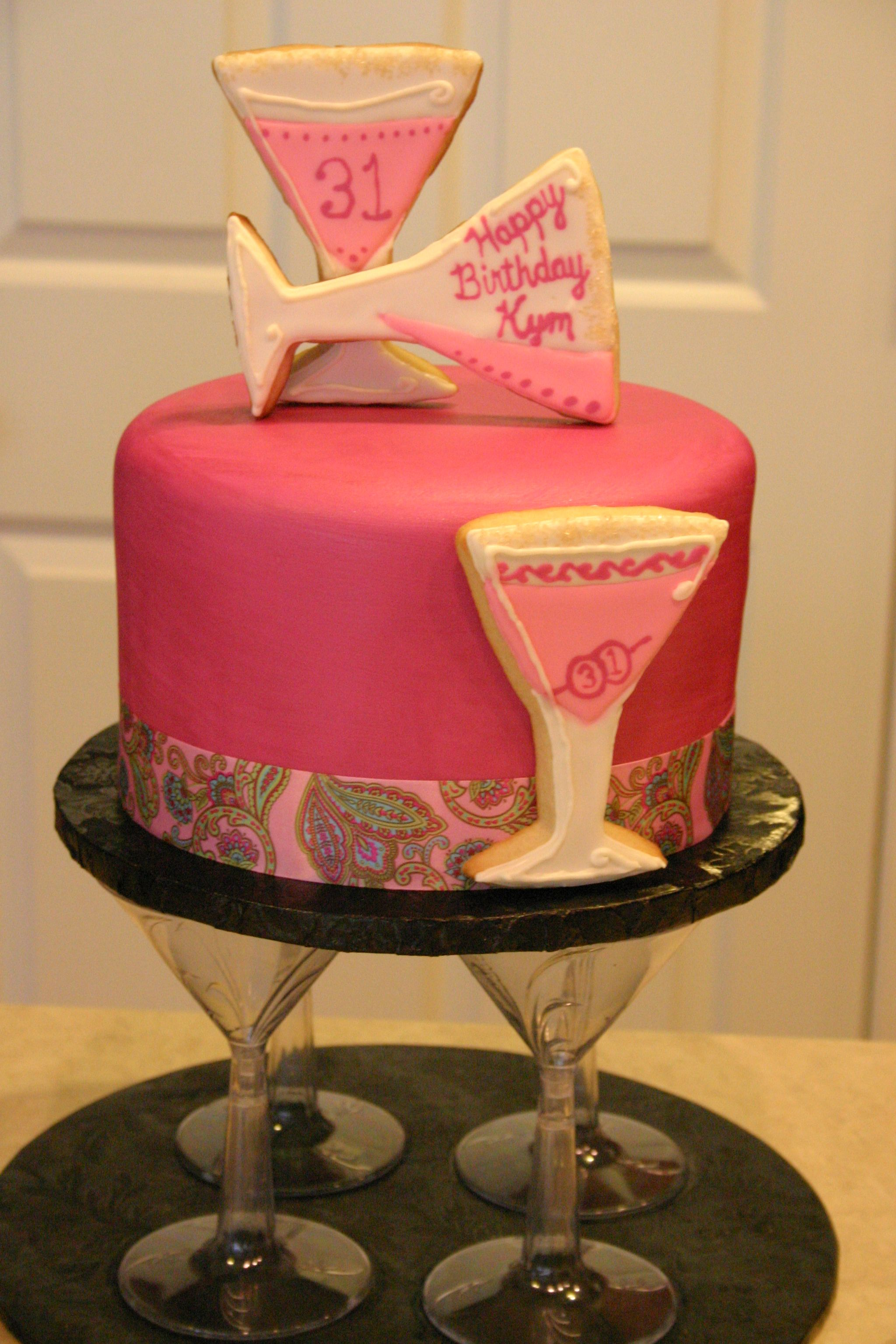 Pink And Magenta Martini Themed Cake With Images 30th Birthday